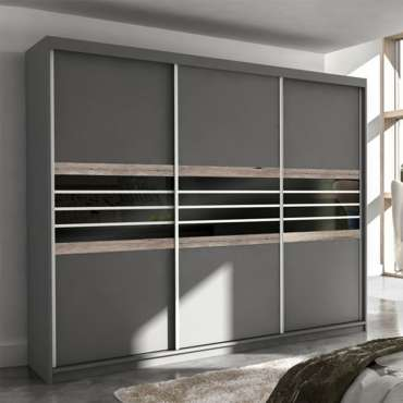 Wardrobe TURYN 250 Lava / Black Glass