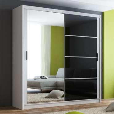 Sliding Door Wardrobe BRANDON 203 White / Black