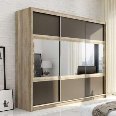 Wardrobe SALWADOR 250 Oak Canyon + Lava + Mirror