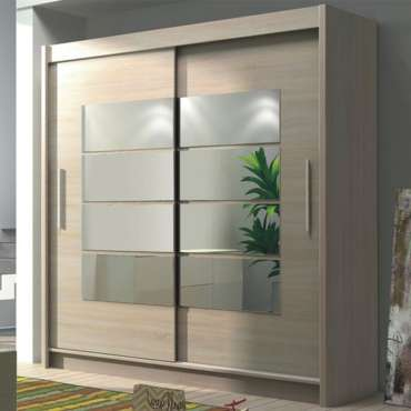 2 Sliding Door Combination Wardrobe Oak and Mirror