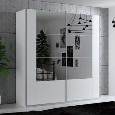 Wardrobe SANTIAGO 200 White + Mirror