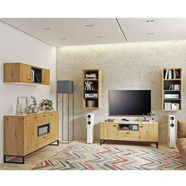 Living Room Furniture OLIVER 5 Oak Artisan + Black