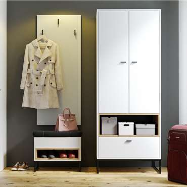 Hallway Furniture OLIVER 6 White + Oak Artisan