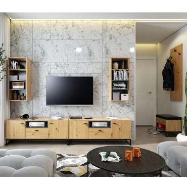 Living Room Furniture OLIVER 9 Oak Artisan + Black