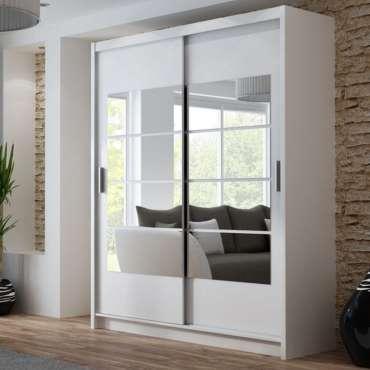 Toronto 2 Sliding Door Combination Wardrobe White and Mirror - 203 cm - dakohome