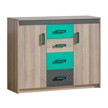 Sideboard ULTIMO U11-Dark Ash Coimbra / Green
