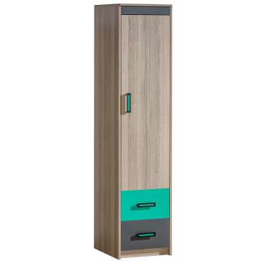 Wardrobe ULTIMO U2-Dark Ash Coimbra / Green