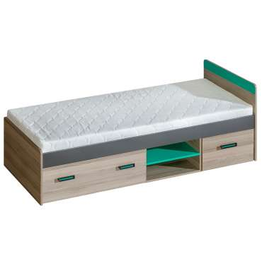 Single Bed ULTIMO U7-Dark Ash Coimbra / Green