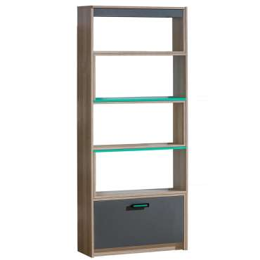 Bookcase ULTIMO U14-Dark Ash Coimbra / Green