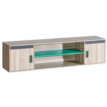 Shelving Unit ULTIMO U17-Dark Ash Coimbra / Green