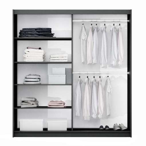 Wardrobe TUNIS 200 Black+Mirror