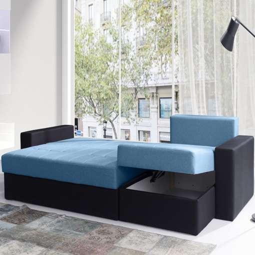Corner Sofa Bed CALABRINI Blue