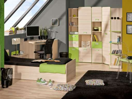 Childrens / Youth Bedroom Furniture Set LORENTO 8 Green