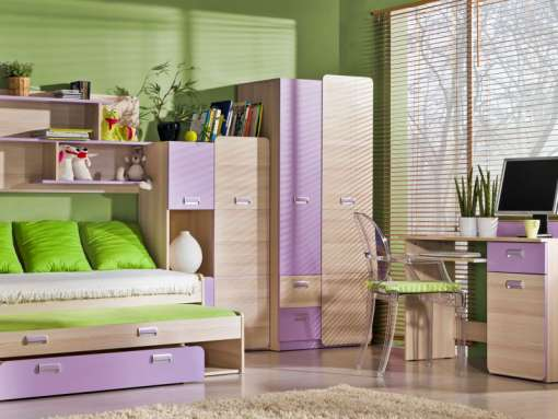 Children's Bedroom Furniture Set LORENTO 4 Purple