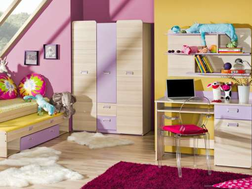 Childrens Bedroom Furniture Set LORENTO 7 Purple