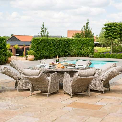 Cotswold Reclining 8 Seat Round Dining Set with Lazy Susan
