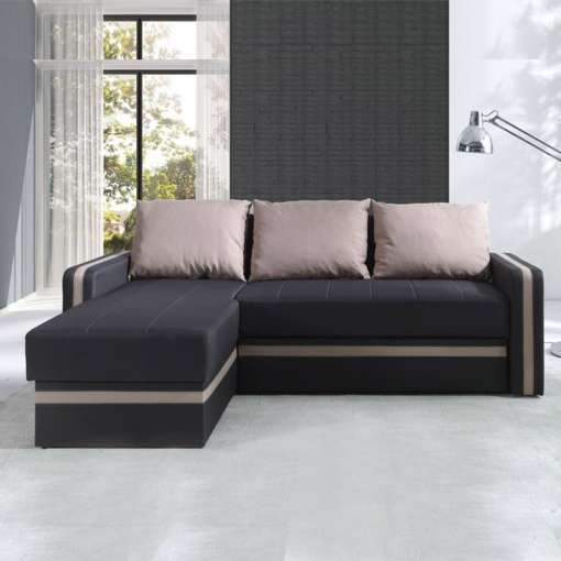 Corner Sofa Bed EUROSIA-Latte