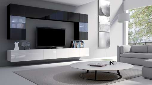 Living Room Furniture Set COLAMBRINI 1 White Gloss / Black Gloss