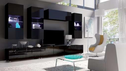 Living Room Furniture Set COLAMBRINI 11 Black Gloss