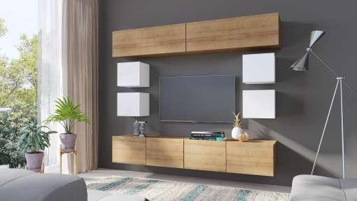 Living Room Furniture Set COLAMBRINI 16 Gold Oak / White Gloss