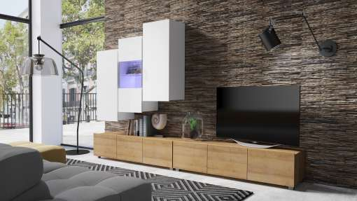 Living Room Furniture Set COLAMBRINI 17 Gold Oak / White Gloss