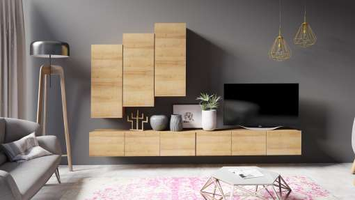 Living Room Furniture Set COLAMBRINI 20 Gold Oak