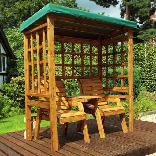 Henley twin seat arbour in green