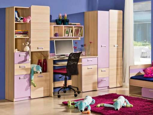 Children's Room Furniture Set LORENTO 3 Purple