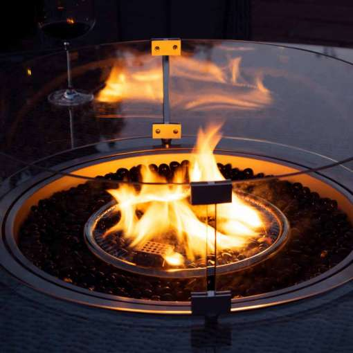 Winchester - Heritage 8 Seat Round Fire Pit Dining Set - With Lazy Susan