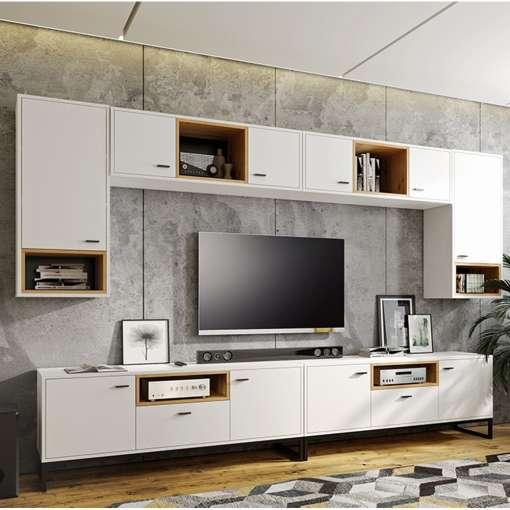 Living Room Furniture OLIVER 8 White + Oak Artisan