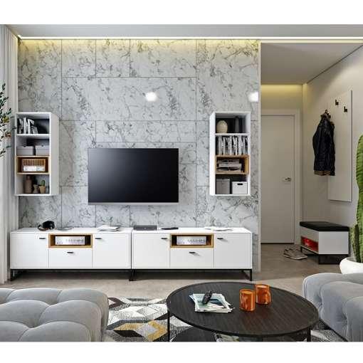 Living Room Furniture OLIVER 9 White + Oak Artisan