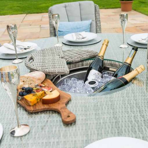 Oxford - Venice 6 Seat Round Dining Set - With Ice Bucket & Lazy Susan
