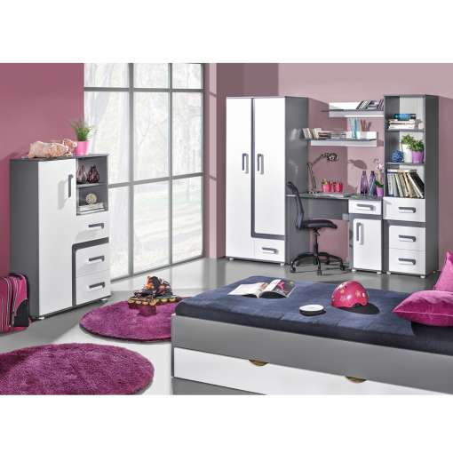 Youth / Kids Furniture Set APETITO 10- Anthracite / White