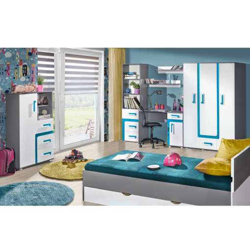 Youth / Kids Furniture Set APETITO 9-Anthracite / Turquoise