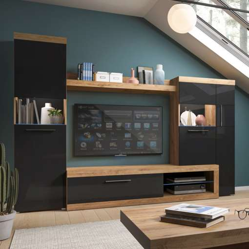 Wall Unit SICILYANO 100 Oak Burgundy / Black Gloss