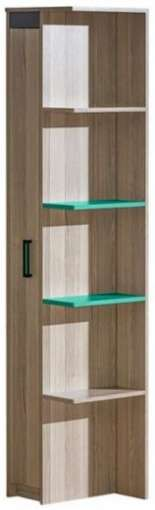 Bookcase ULTIMO U5-Dark Ash Coimbra / Green