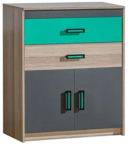 Chest of Drawers ULTIMO U6-Dark Ash Coimbra / Green