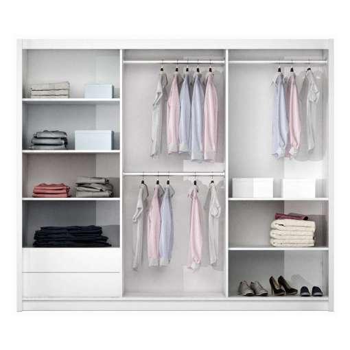 Sliding Door Wardrobe VIGO White+Mirror