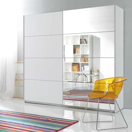 Sliding Door Wardrobe GAMMA 200 White + mirror